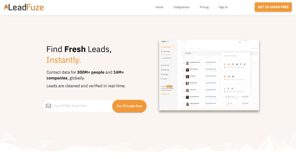 Page d'accueil de LeadFuze