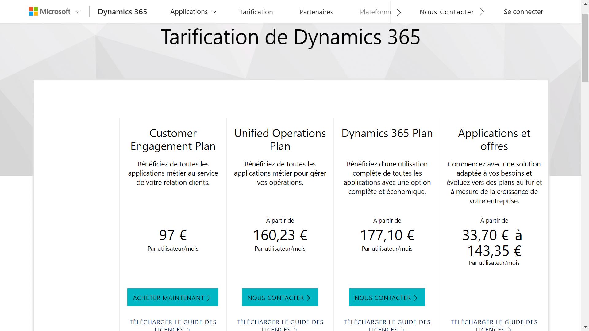 microsoft dynamics tarifs