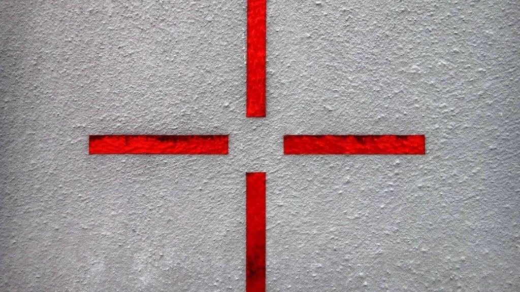 Photo d'une cible peinte au mur