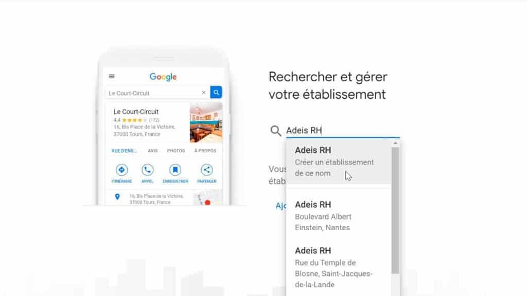 Google Business-Nom de l'établissement