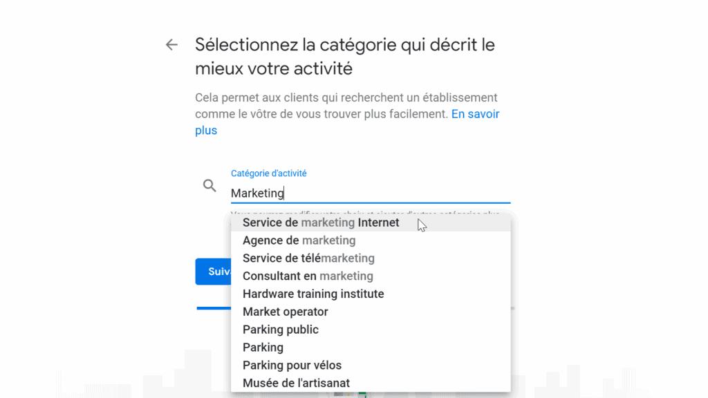 Google Business-Type d'activité