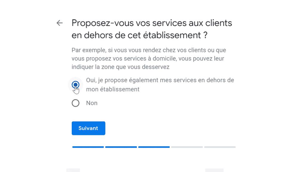 Google My Business-Services en dehors de l'établissement