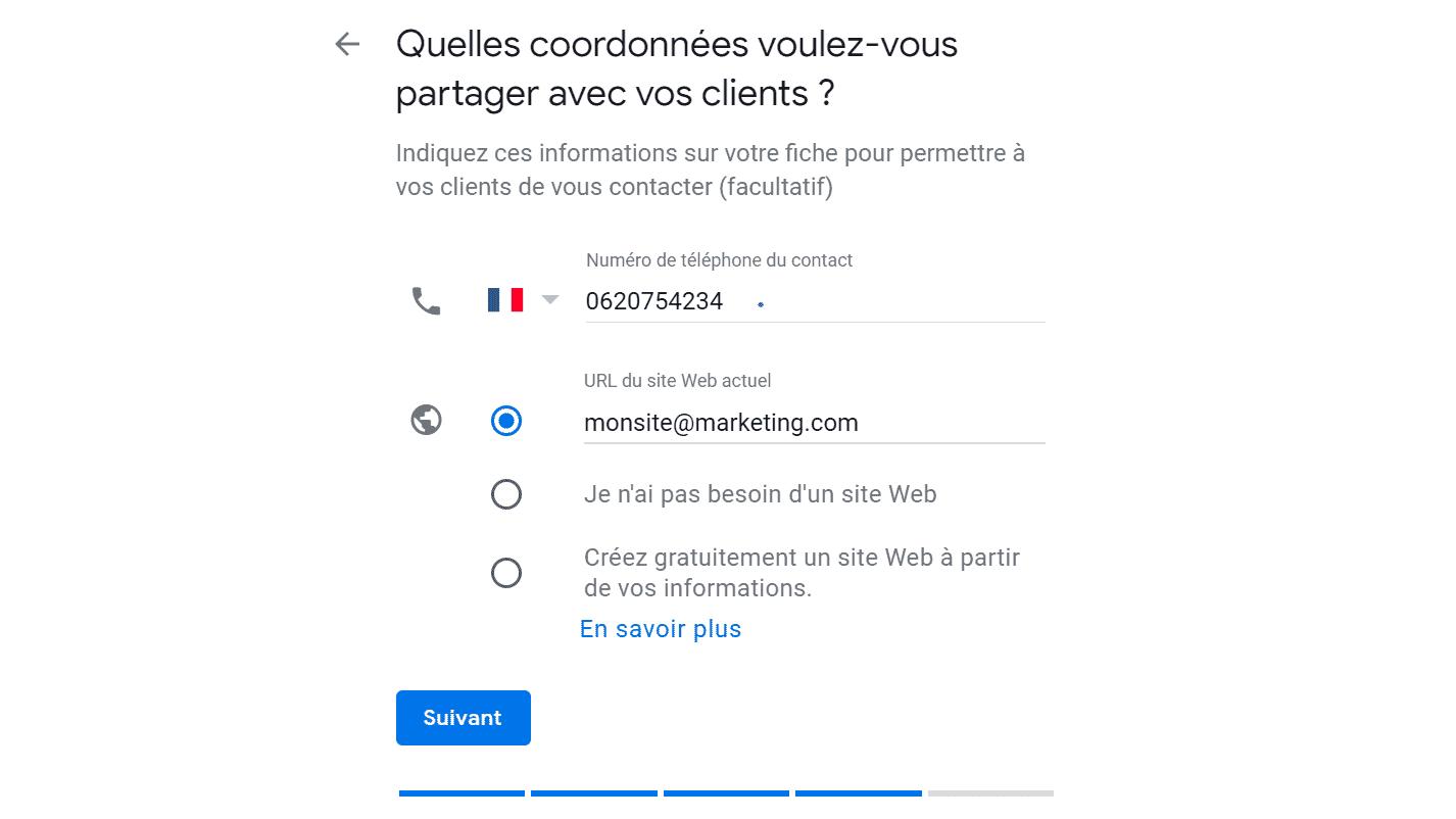 Google My Business-Coordonnées