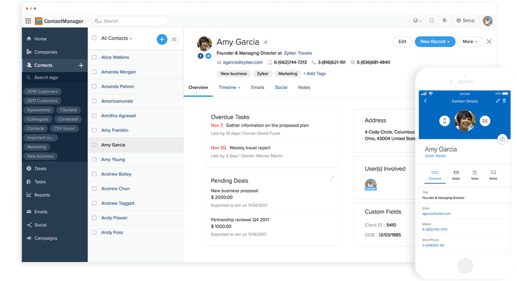 Zoho crm contacts
