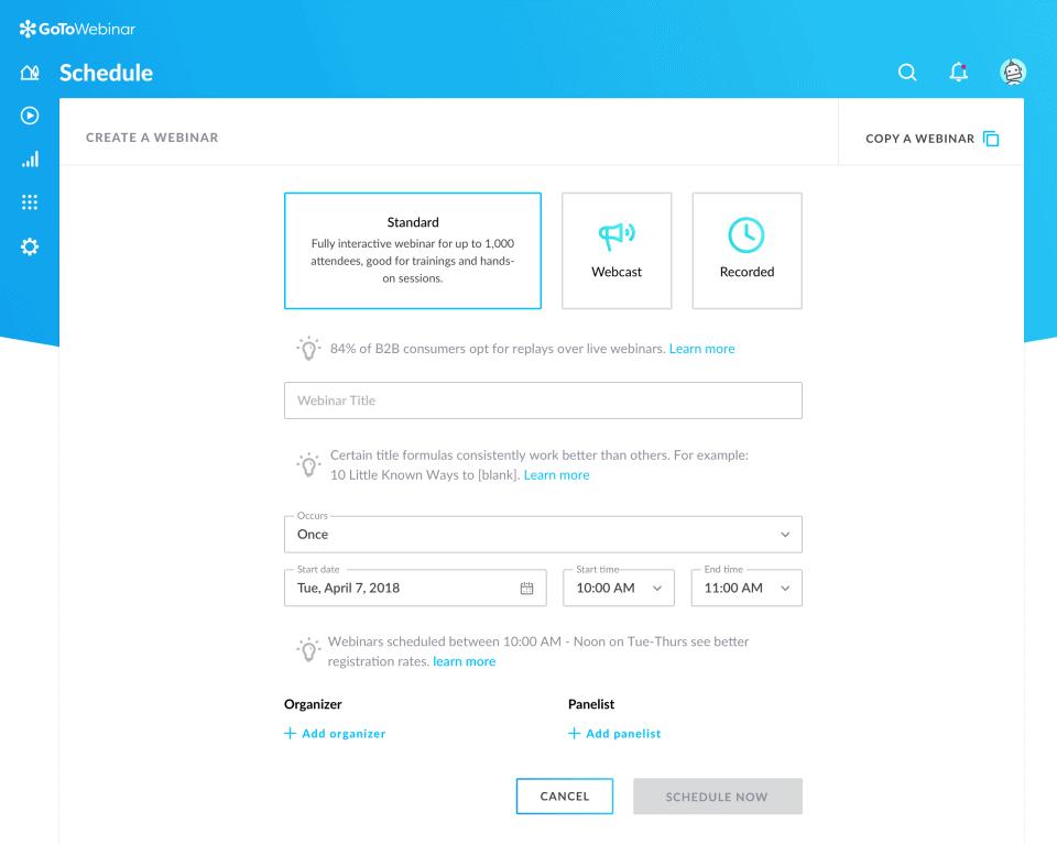 GoToWebinar configuration