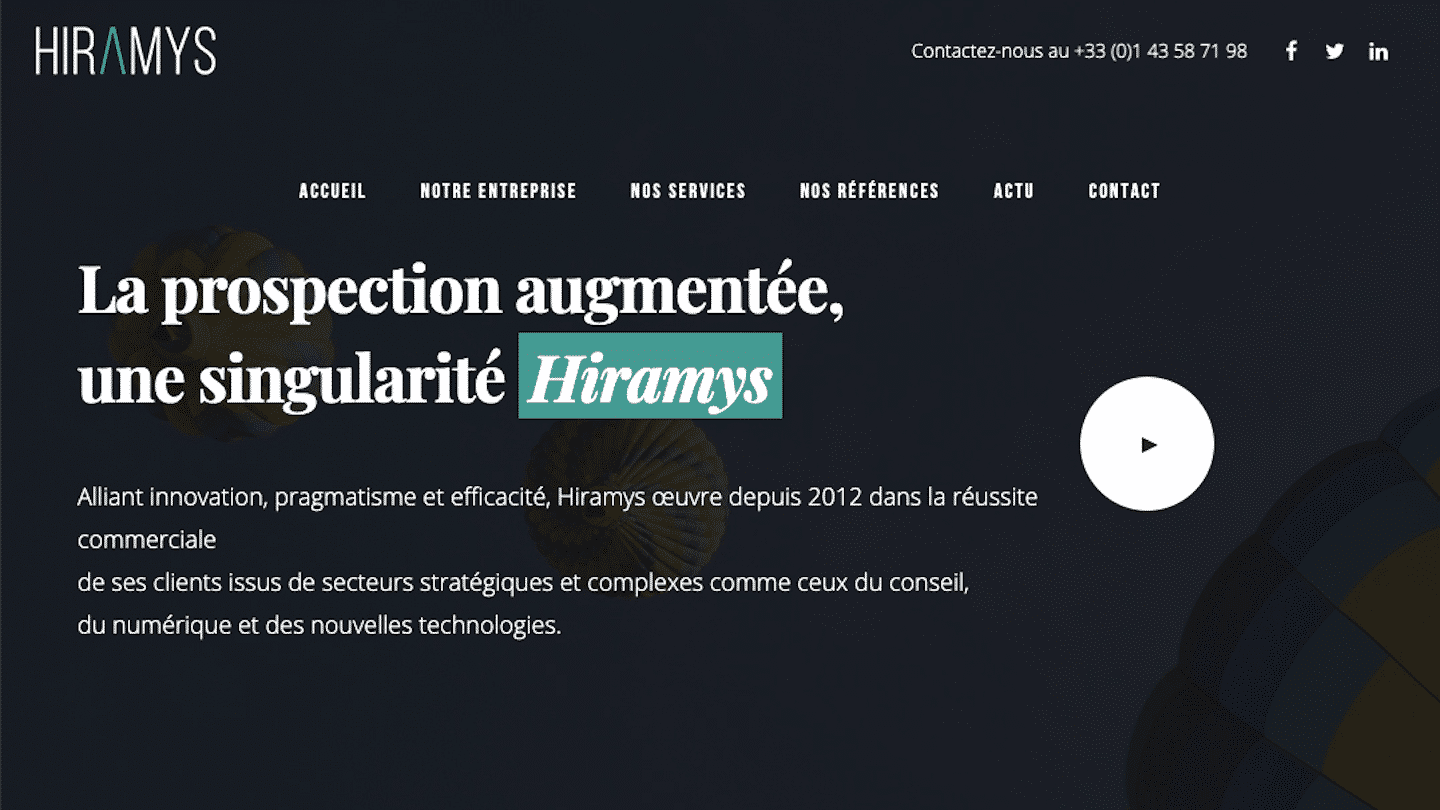 page d'accueil Hiramys