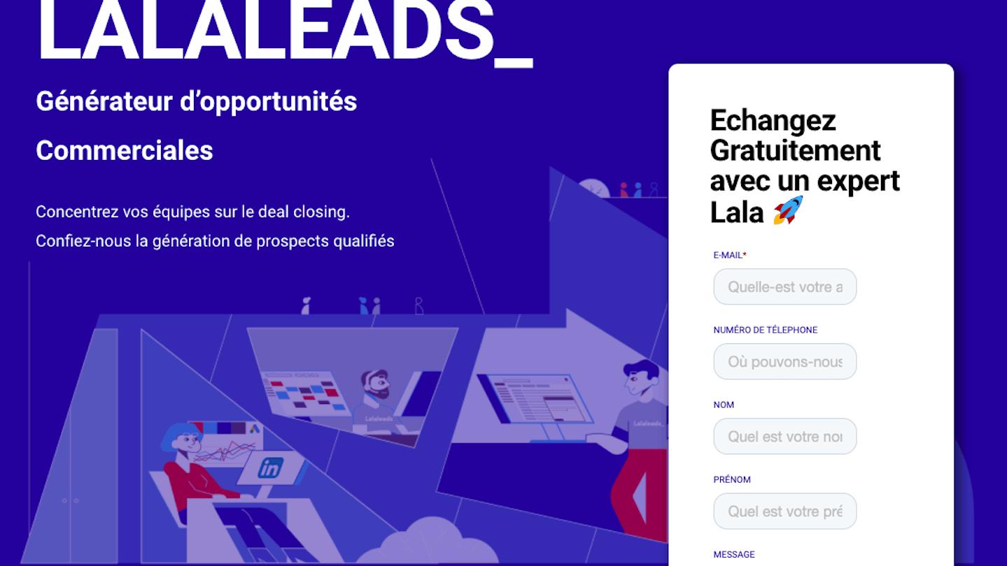 page d'accueil du site Lalaleads