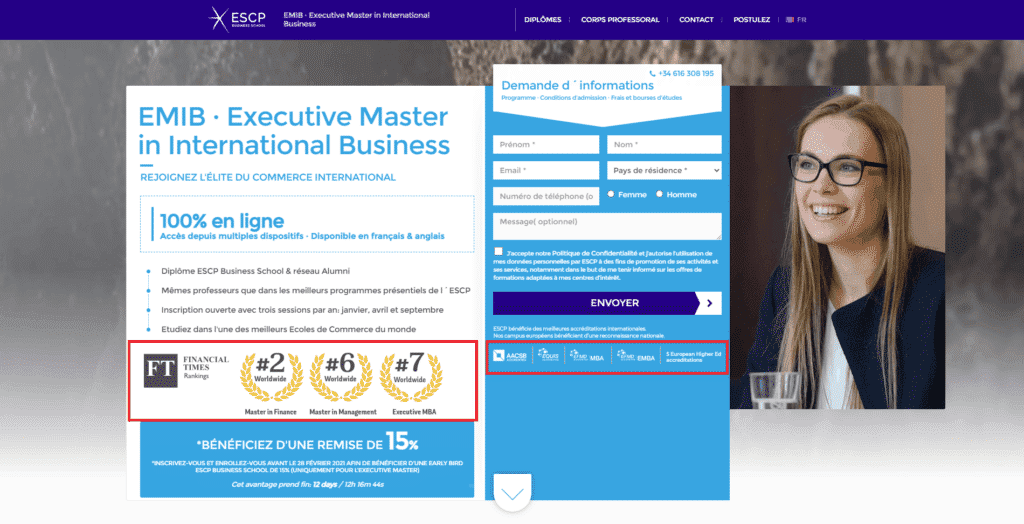 buyer personas landing pages exemple MBA Escp certifications