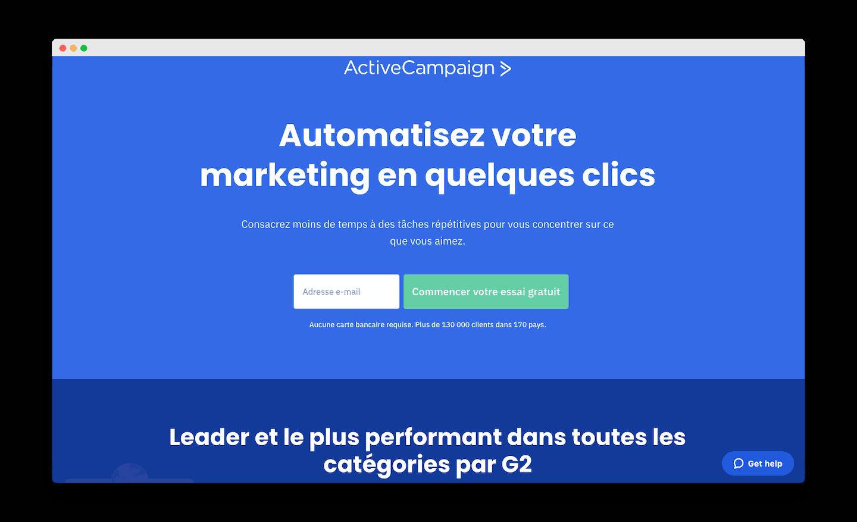 homepage de active campaign