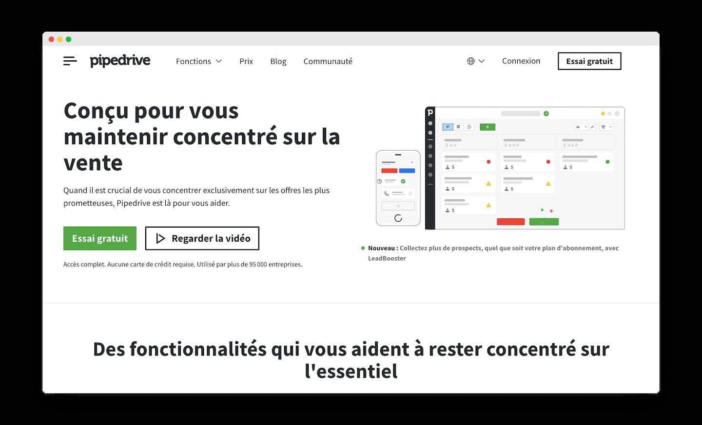 homepage de Pipedrive