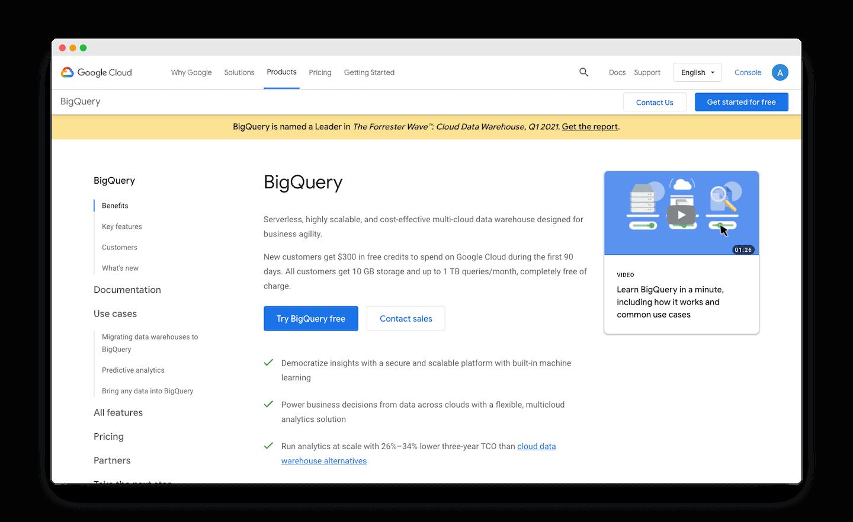 homepage de GoogleBigQuery