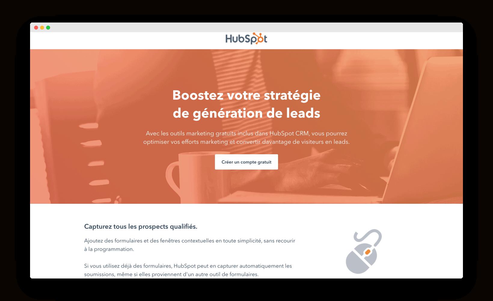 homepage de Hubspot