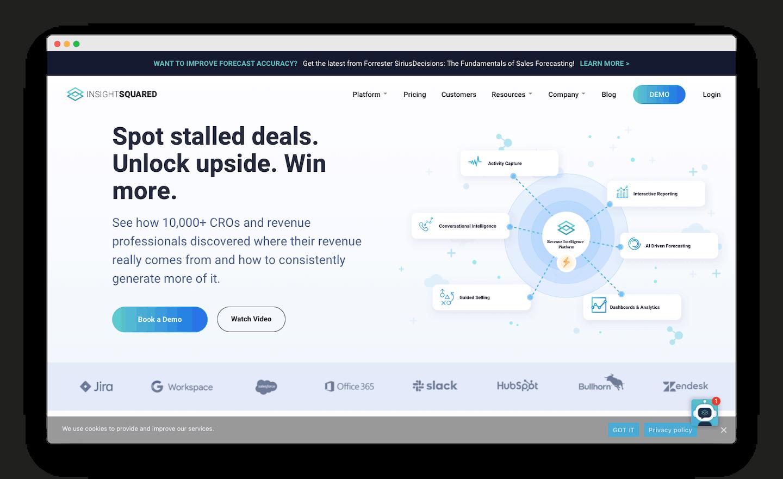 homepage de InsightSquared