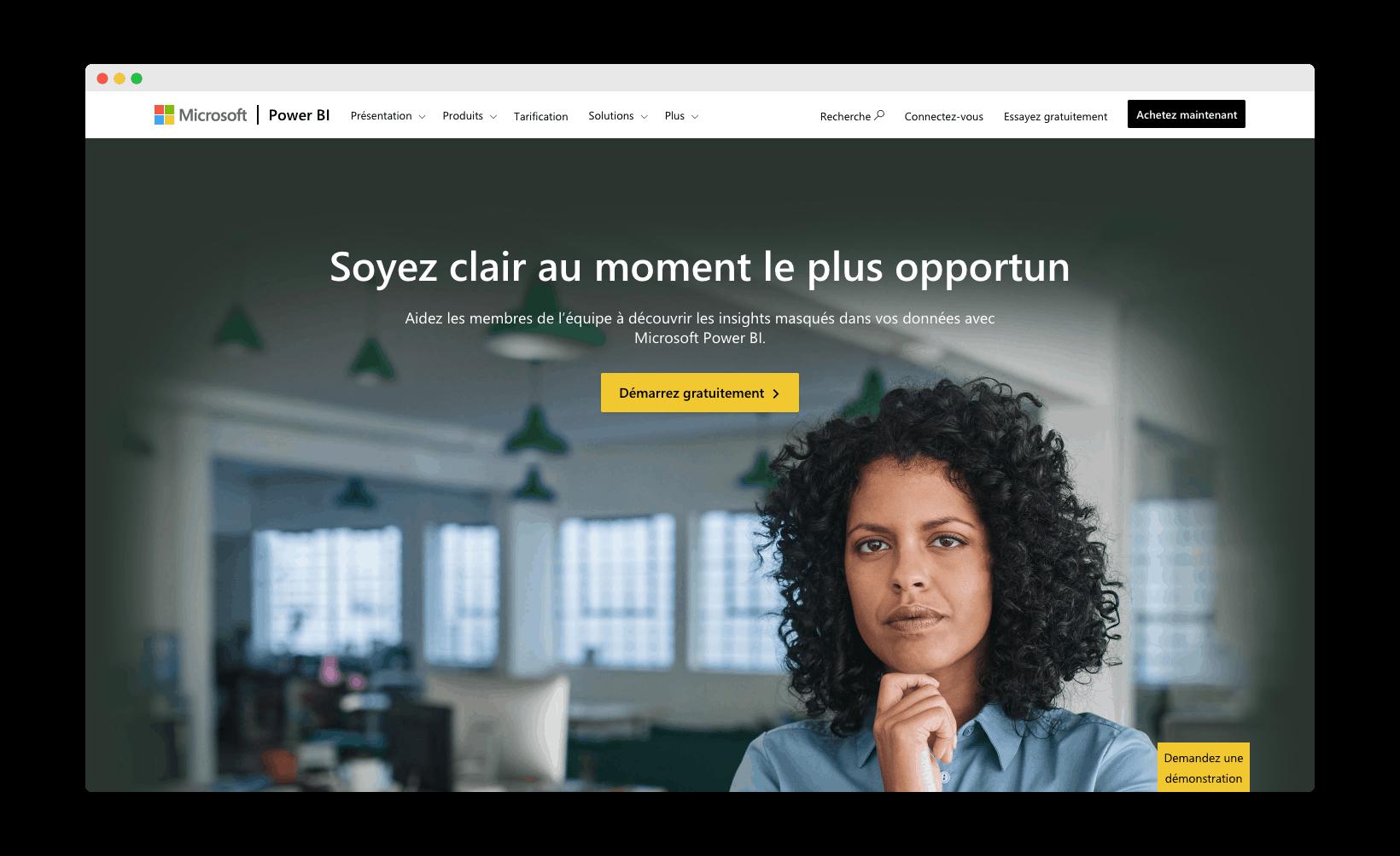 homepage de Microsoft Power BI