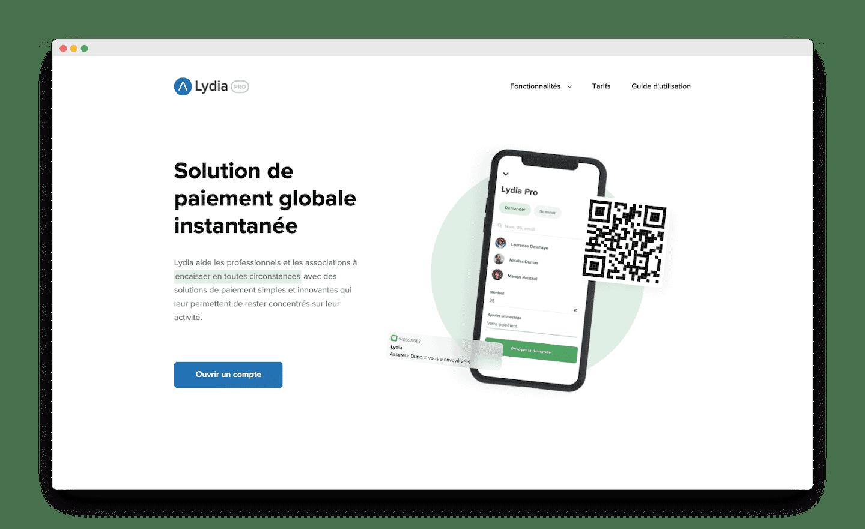 homepage de lydia pro