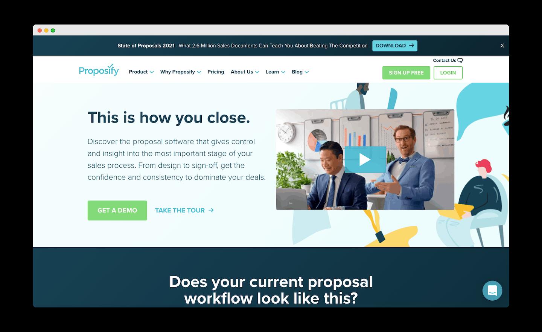 homepage de proposify