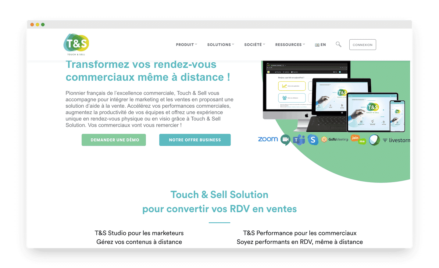 homepage de touch and sell