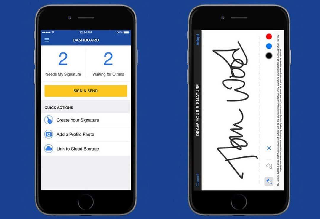 photo de l'application mobile docusign