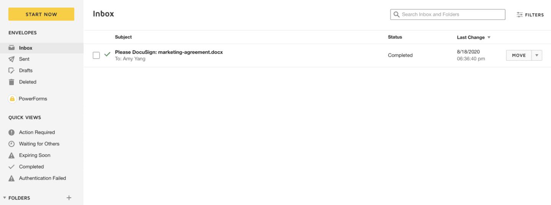 screenshot du stockage de document sur docusign