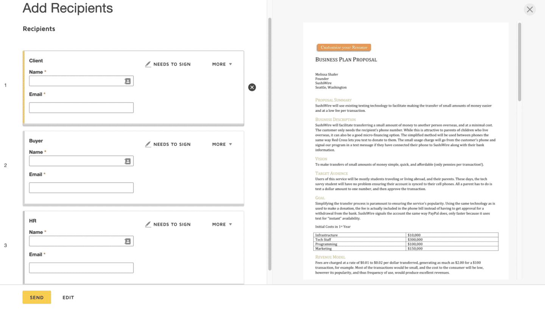 screenshot de la création de template avec docusign