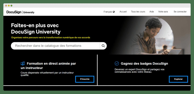 screenshot de la docusign university
