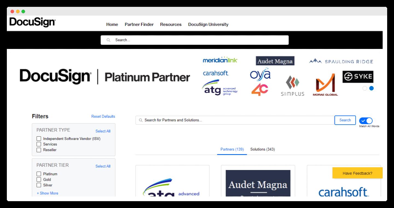 screenshot des partenaires de docusign
