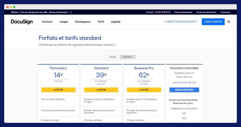 screenshot des tarifs de docusign